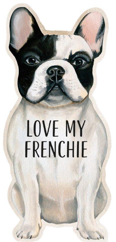 French Bulldog Shaped Magnet By Kathy Black & White