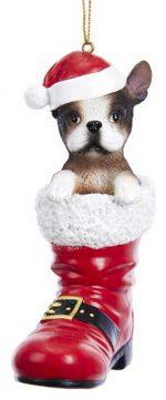 French Bulldog Santa Boot Ornament