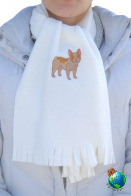 French Bulldog Scarf Fawn Fleece Cream 1