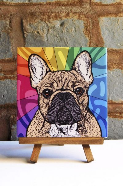 French Bulldog Fawn Colorful Portrait Original Artwork on Ceramic Tile 4x4 Inches