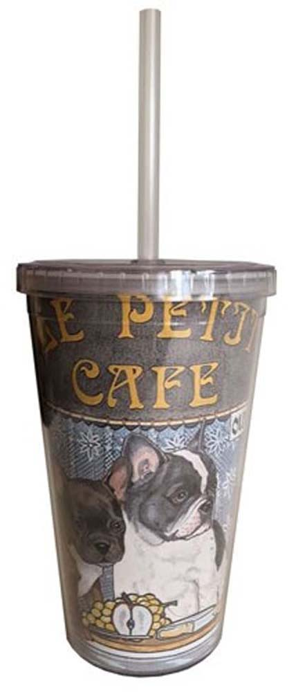 French Bulldog Tumbler With Straw