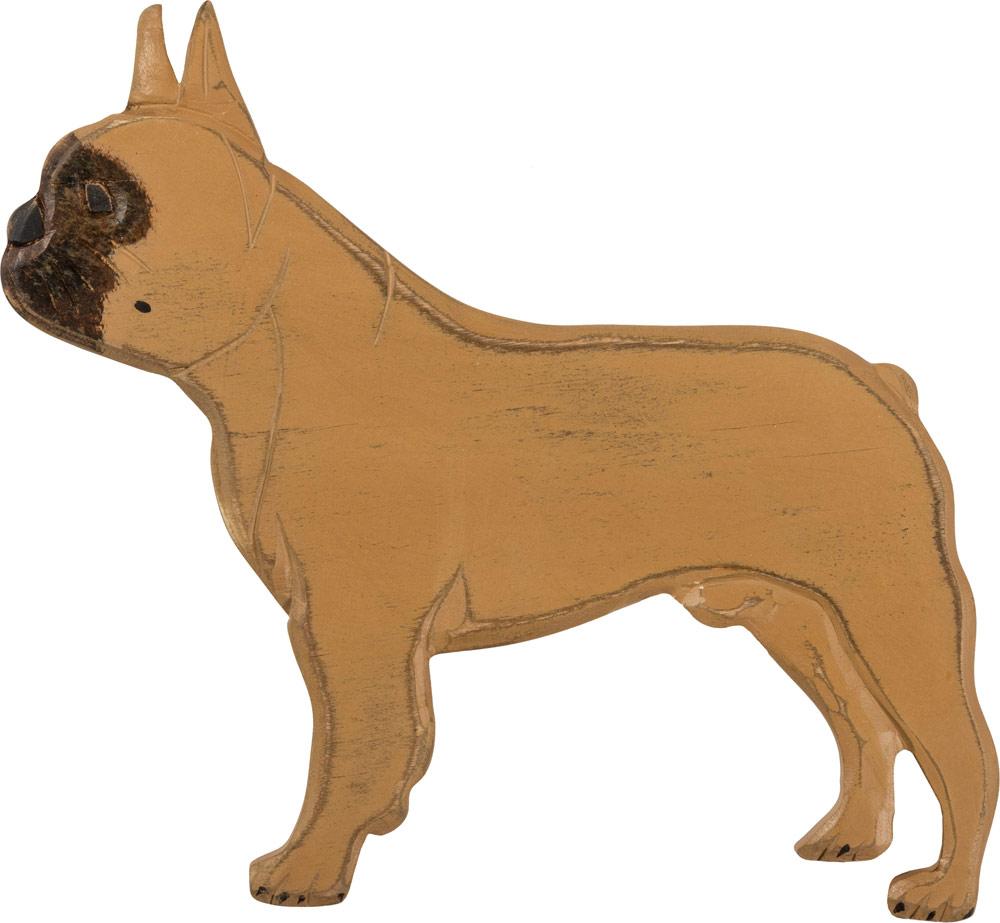 French Bulldog Wood Wall Plaque Figure Cream/Fawn