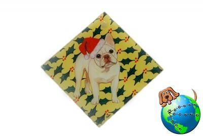 French Bulldog Dog Crystal Glass Holiday Christmas Ornament Cream