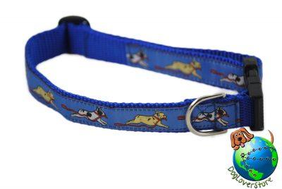 """French Bulldog Dog Breed Adjustable Nylon Collar Medium 11-19"""" Blue"""