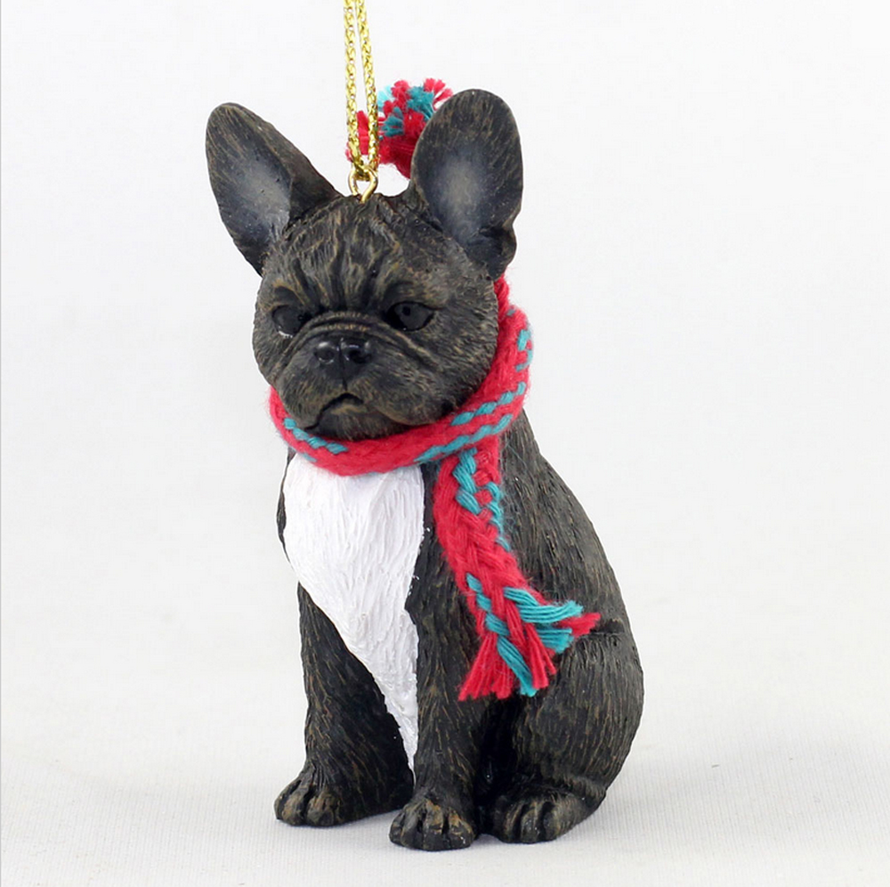 French Bulldog Dog Christmas Ornament Scarf Figurine -