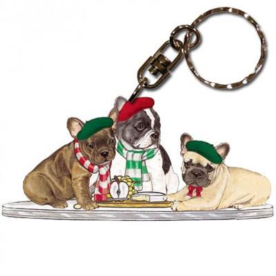 French Bulldog Wooden Dog Breed Keychain Key Ring 1