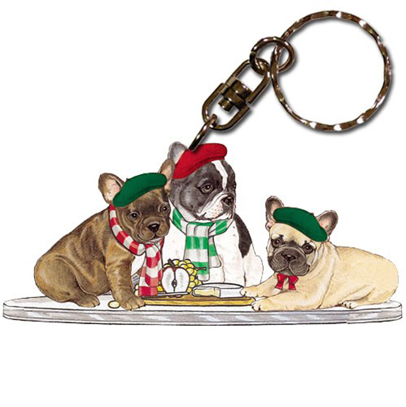 French Bulldog Wooden Dog Breed Keychain Key Ring