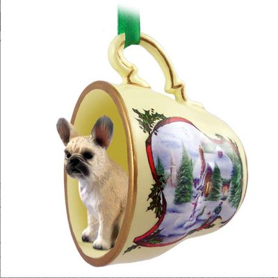 French Bulldog Dog Christmas Holiday Teacup Ornament Figurine Fawn