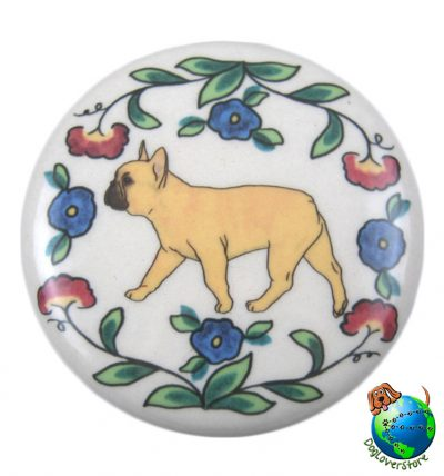 French Bulldog Dog Wine Bottle Stopper Hand Painted Fawn