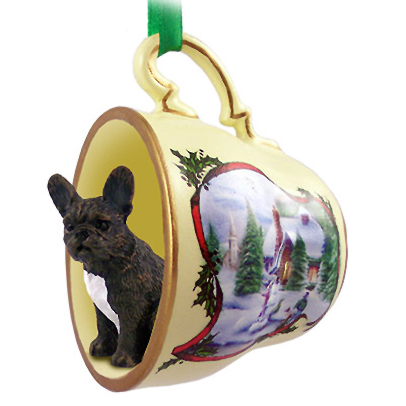 French Bulldog Dog Christmas Holiday Teacup Ornament Figurine