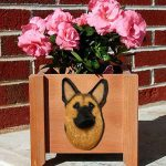 German Shepherd Planter Flower Pot Gold With Black Saddle 1