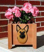 German Shepherd Planter Flower Pot Gold With Black Saddle