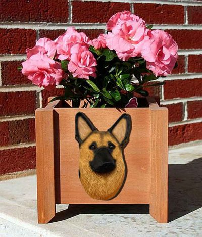 German Shepherd Planter Flower Pot Gold With Black Saddle
