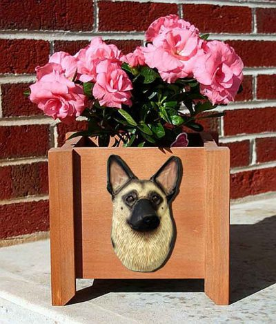 German Shepherd Planter Flower Pot Tan Black Saddle 1