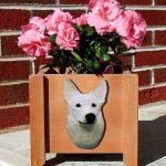 German Shepherd Planter Flower Pot White 1