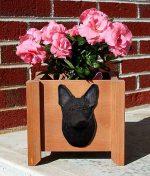 German Shepherd Planter Flower Pot Black