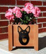 German Shepherd Planter Flower Pot Black w/ Tan Points