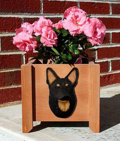 German Shepherd Planter Flower Pot Black w/ Tan Points 1
