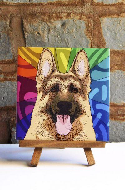 German Shepherd Black/Tan Colorful Portrait Original Artwork on Ceramic Tile 4x4 Inches