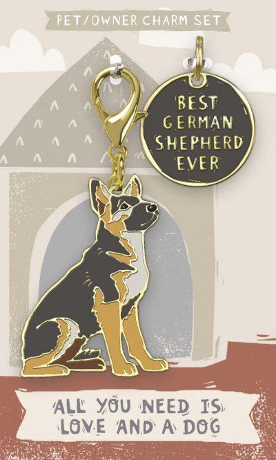 German Shepherd Collar Charm and Keychain Set