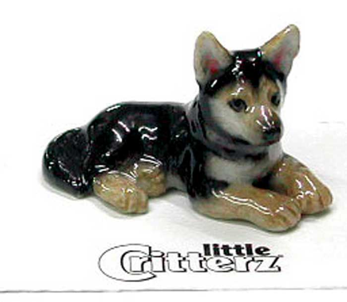 German Shepherd Hand Painted Porcelain Miniature Figurine
