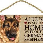 German Shepherd Wood Dog Sign Wall Plaque 5 x 10 + Bonus Coaster 1