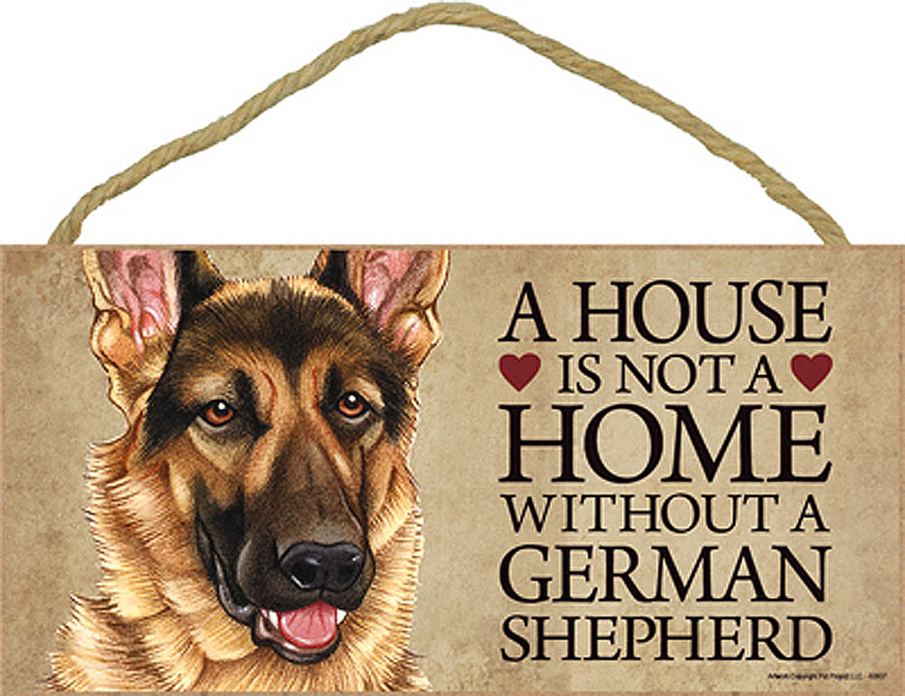 German Shepherd Wood Dog Sign Wall Plaque 5 x 10 + Bonus Coaster