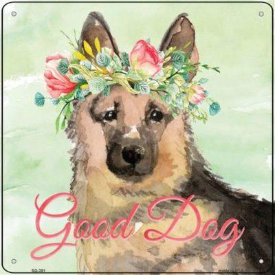 "German Shepherd ""Good Dog"" Metal Sign Tan/Black"