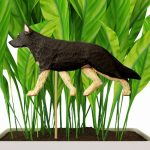 Black & White Colored German Shepherd Figure Attached to Stake to be Placed in Ground or Garden
