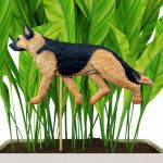 Black & Gold Colored German Shepherd Figure Attached to Stake to be Placed in Ground or Garden