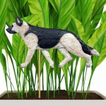 Tan & Black Saddle Colored German Shepherd Figure Attached to Stake to be Placed in Ground or Garden