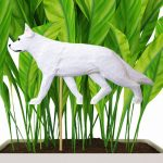 White German Shepherd Figure Attached to Stake to be Placed in Ground or Garden