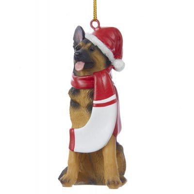 German Shepherd Resin Santa Ornament 3