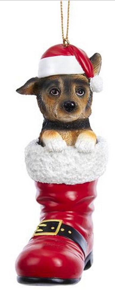 German Shepherd Santa Boot Ornament