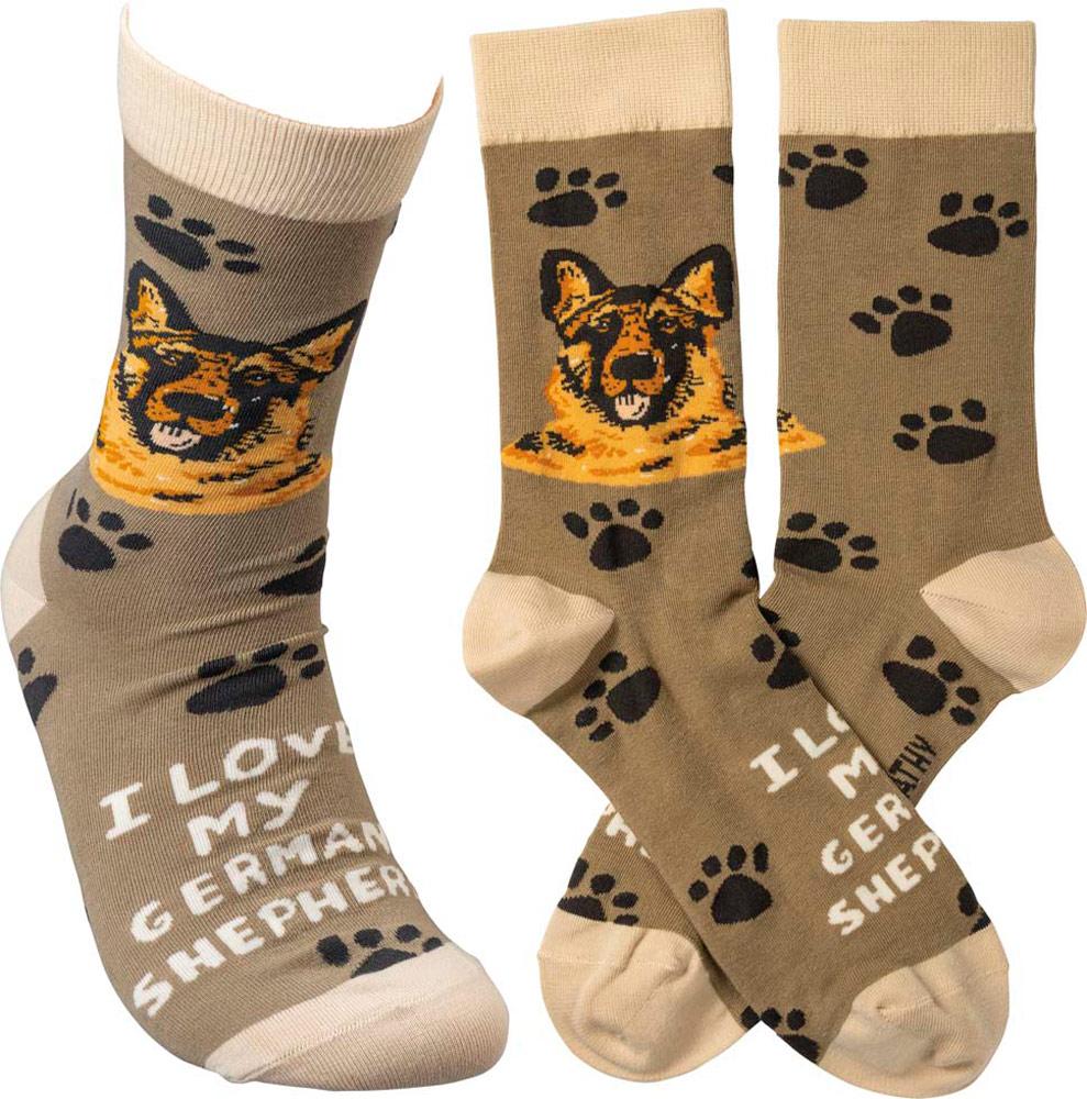 I Love My German Shepherd Socks By Kathy