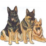 German Shepherd Wooden Magnet Family