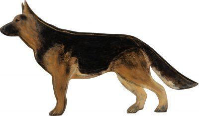 German Shepherd Wood Wall Plaque Figure Black/Tan