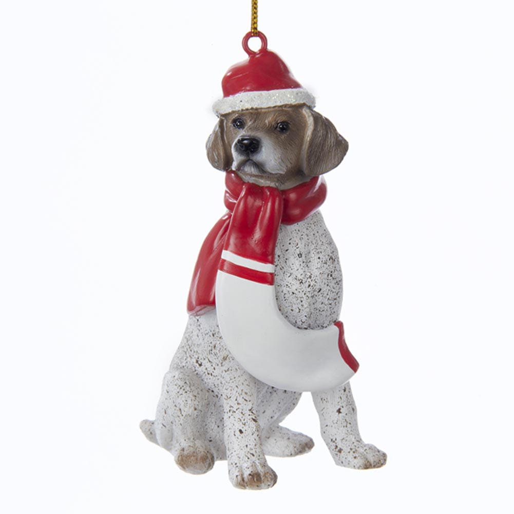 German Shorthair Pointer Resin Santa Ornament 3.9 Inches