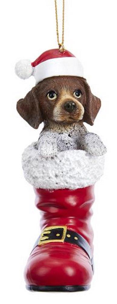 German Shorthair Pointer Santa Boot Ornament