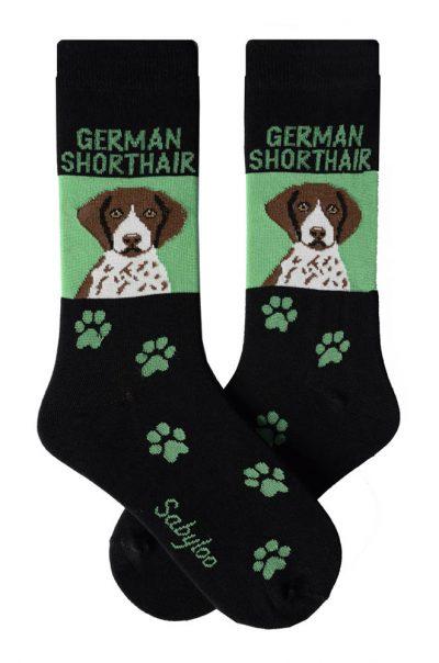 German Shorthair Pointer Socks Green and Black in Color