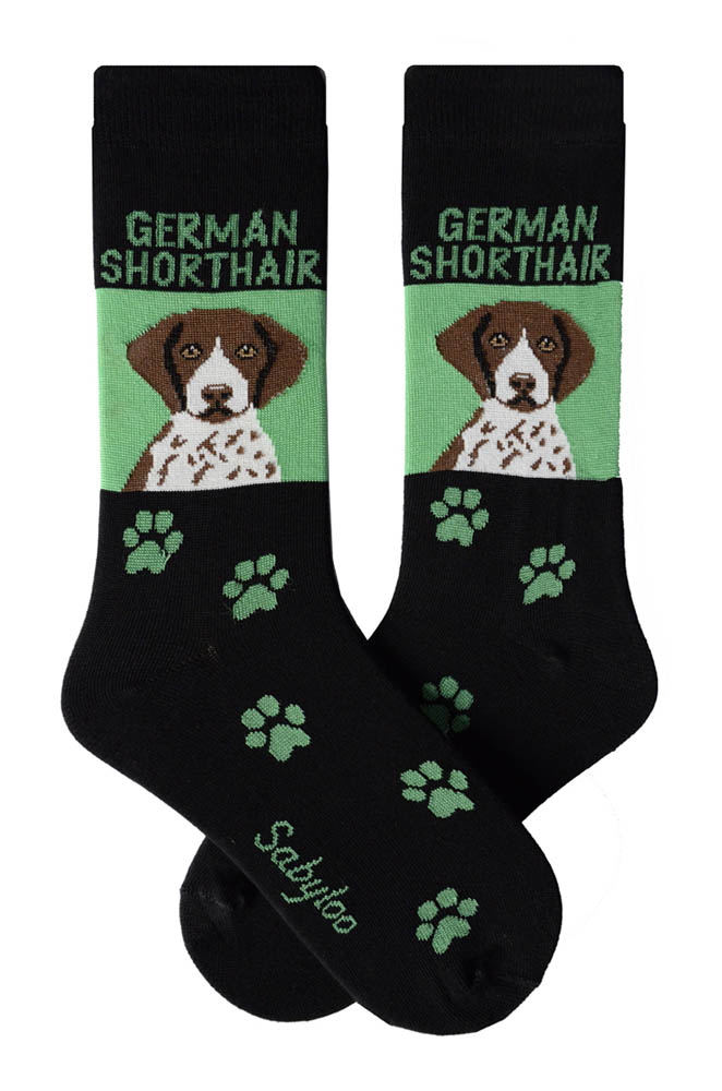 German Shorthair Pointer Socks Green and Black in Color
