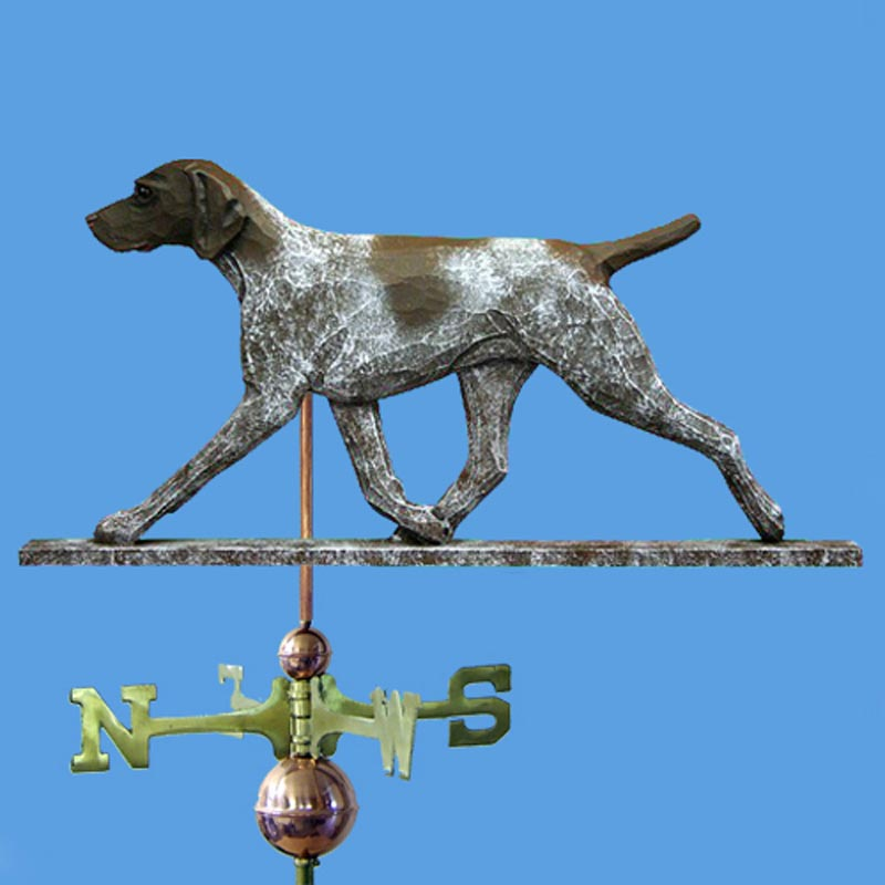 Weathervanes >> German Shorthair Pointer Hand Carved Hand Painted Basswood Weathervane