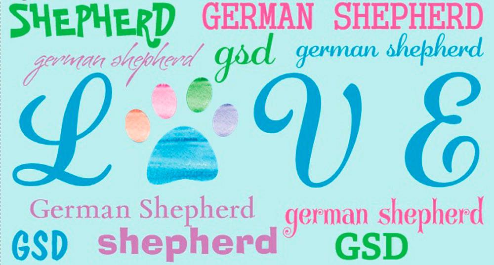 German Shepherd Rectangular Magnet That Says Love & German Shepherd in a Pattern