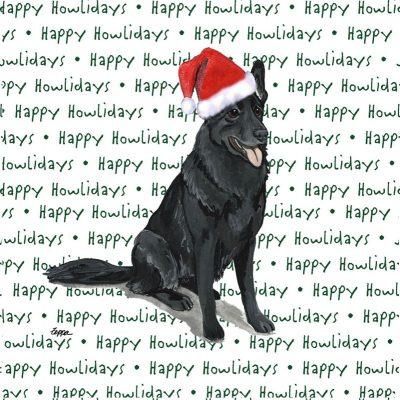 German Shepherd Dog Coasters Christmas Themed Black