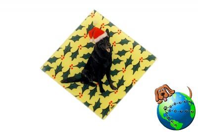 German Shepherd Dog Crystal Glass Holiday Christmas Ornament Black