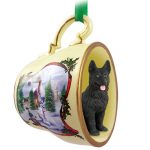 German Shepherd Dog Christmas Holiday Teacup Ornament Figurine Black