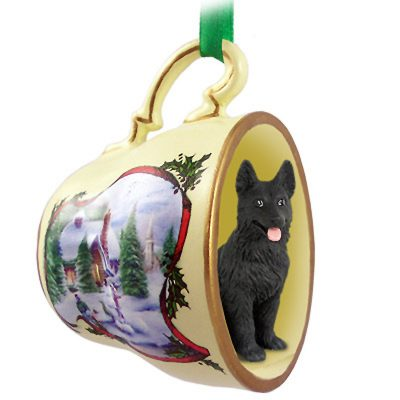 German Shepherd Dog Christmas Holiday Teacup Ornament Figurine Black
