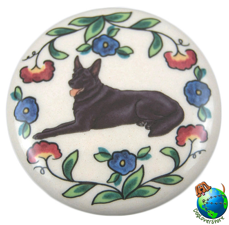 German Shepherd Dog Wine Bottle Stopper Hand Painted Black