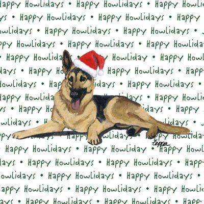 German Shepherd Dog Coasters Christmas Themed Tan/Black