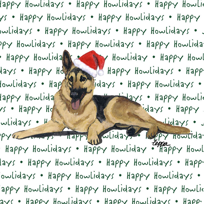 German Shepherd Dog Coasters Christmas Themed Tan/Black